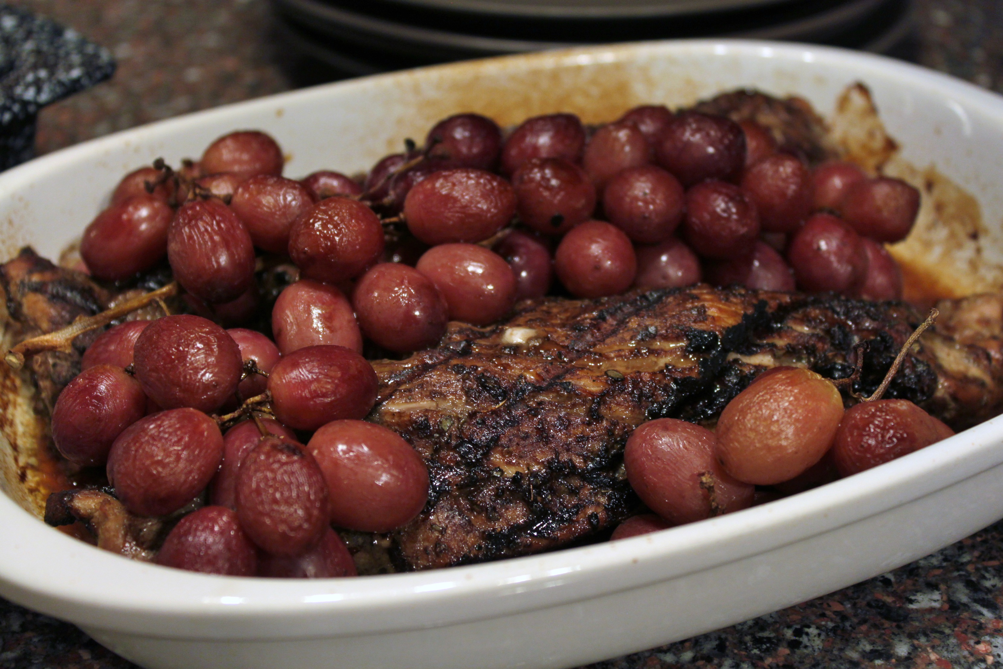 Coffee Rubbed Pork Tenderloin with Roasted Grapes  Dish n the kitchen