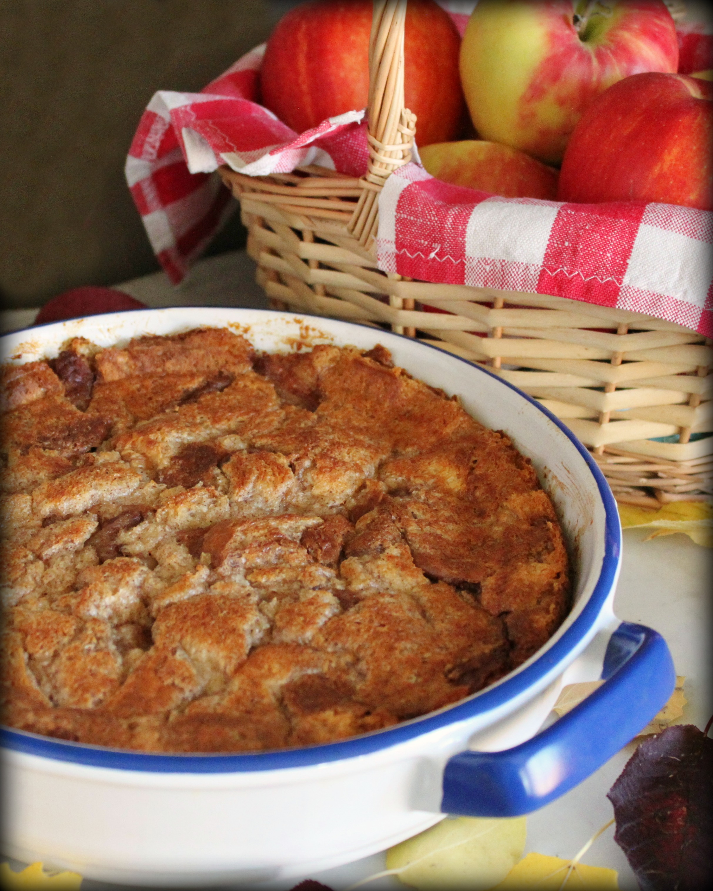 apple brioche bread pudding with apple brandy caramel sauce dish